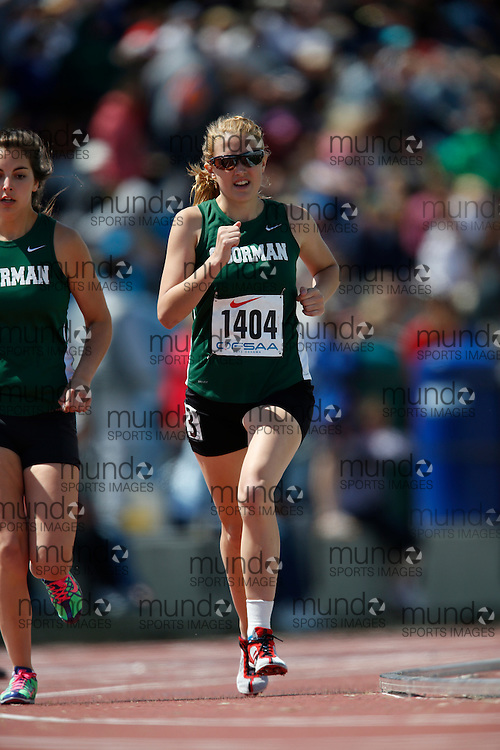 Meghan Mahon of O'Gorman HS - Timmins competes in the 800m at the 2013 OFSAA Track and Field Championship in Oshawa Ontario, Saturday,  June 8, 2013.<br /> Mundo Sport Images/ Geoff Robins