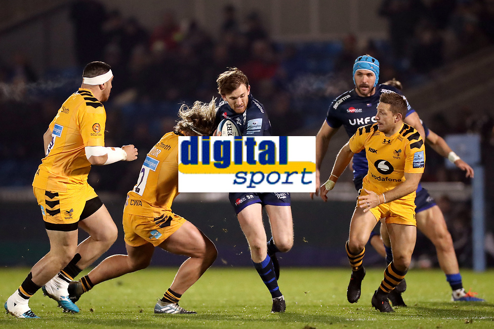Rugby Union - 2019 / 2020 Gallagher Premiership - Sale Sharks vs. Wasps <br /> <br /> Simon Hammersley of Sale Sharks is tackled by Tommy Taylor of Wasps, at AJ Bell Stadium,<br /> <br /> COLORSPORT/PAUL GREENWOOD