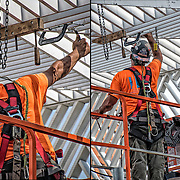 Two images of iron Worker clamping and assembling the 18-foot white canopy sculpture.
