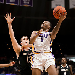 Jan 19, 2019; Baton Rouge, LA, USA; LSU Tigers guard Ja'vonte Smart (1) shoots over South Carolina Gamecocks forward Felipe Haase (13) during the first half at the Maravich Assembly Center. Mandatory Credit: Derick E. Hingle-USA TODAY Sports