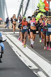 NYC Marathon, lead pack of women mile one, Goucher, Linden,
