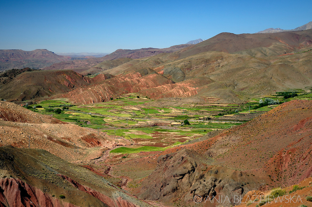 Morocco, Maroc. Green valley in the High Atlas Mountains.
