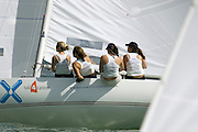 "The all girl crew of ""Fort Sail"" in the International Etchell class power off the start line on Day 1 of Skandia Cowes Week 2006"