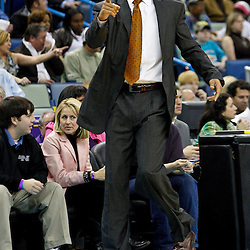 January 24,  2011; New Orleans, LA, USA; New Orleans Hornets head coach Monty Williams during the first half against the Oklahoma City Thunder at the New Orleans Arena. The Hornets defeated the Thunder 91-89. Mandatory Credit: Derick E. Hingle