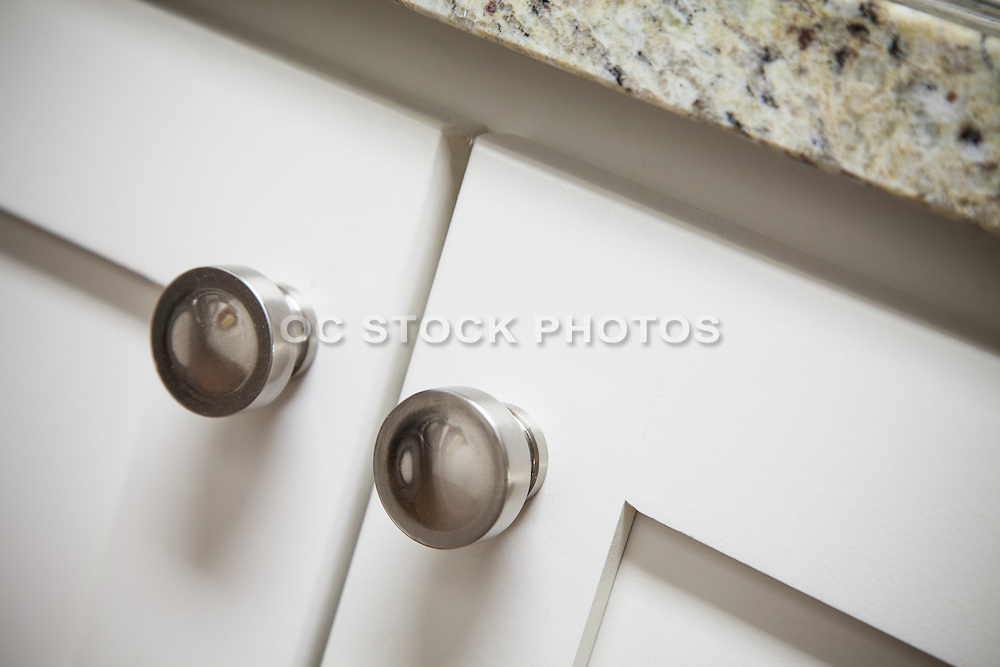 Satin Nickel Round Cabinet Knobs on White Cabinets
