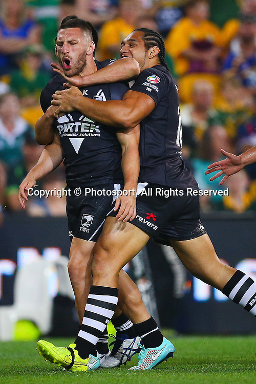 Lewis Brown  celebrates a try during the Four Nations test match between Australia and New Zealand at Suncorp Stadium,  Brisbane Australia on October 25, 2014.