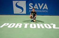 Winner Aljaz Bedene of Slovenia posing at trophy ceremony after the Final match at Day 10 of ATP Challenger Zavarovalnica Sava Slovenia Open 2019, on August 18, 2019 in Sports centre, Portoroz/Portorose, Slovenia. Photo by Vid Ponikvar / Sportida