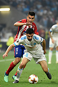 Midfielder Morgan Sanson of Olympique de Marseille and midfielder Angel Correa of Atletico de Madrid during the UEFA Europa League, Final football match between Olympique de Marseille and Atletico de Madrid on May 16, 2018 at Groupama Stadium in Decines-Charpieu near Lyon, France - Photo Jean-Marie Hervio / ProSportsImages / DPPI
