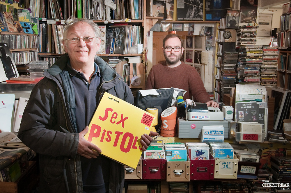 Tony Wright of Louth, Lincolnshire purchases specially relased Sex Pistols LP at Off th Beaten Track records in Louth, Lincolnshire as part of National Record Store Day 2017.