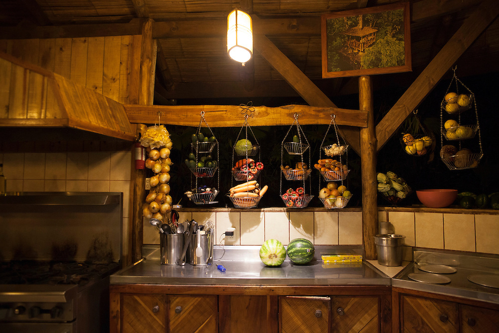 The restaurant and kitchen of Finca Bellavista at the Base Camp
