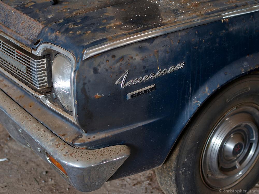 American car inside the old Herring Factory in Djúpavík, Strandir, Nortwest Iceland.