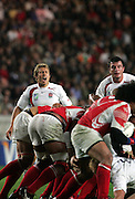 Jonny Wilkinson shouts instructions at his team mates. England v Tonga, Parc Des Princes, Paris, France, 28th Septemeber 2007. Rugby World Cup 2007.