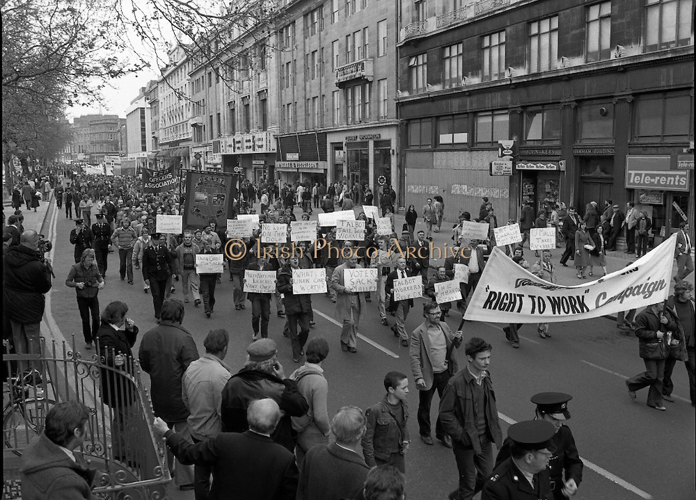 May Day Demonstration March.       (N72)..1981..01.05.1981..05.01.1981..1st May 1981..As part of International Workers Day the Irish Congress of Trades Unions organised a protest march in Dublin. The march to Dail Éireann was to highlight the inequities in wages,taxes etc carried by the working classes in Ireland. The May Day protest in Dublin was mirrored across Europe..Picture shows 'Talbot' workers as they parade behind a Right To Work Banner.