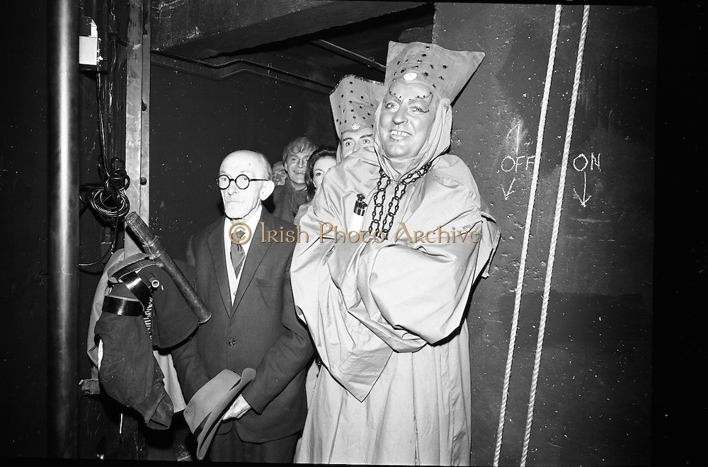 Opening of the new Abbey Theatre, designed by Michael Scott. Sean Barlow (left), the oldest member of the Abbey, waits in the wings of the new stage..18.07.1966