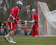 Luke MacNeil of Canandaigua in net during a game against Pittsford in Canandaigua on Saturday, April 11, 2015.