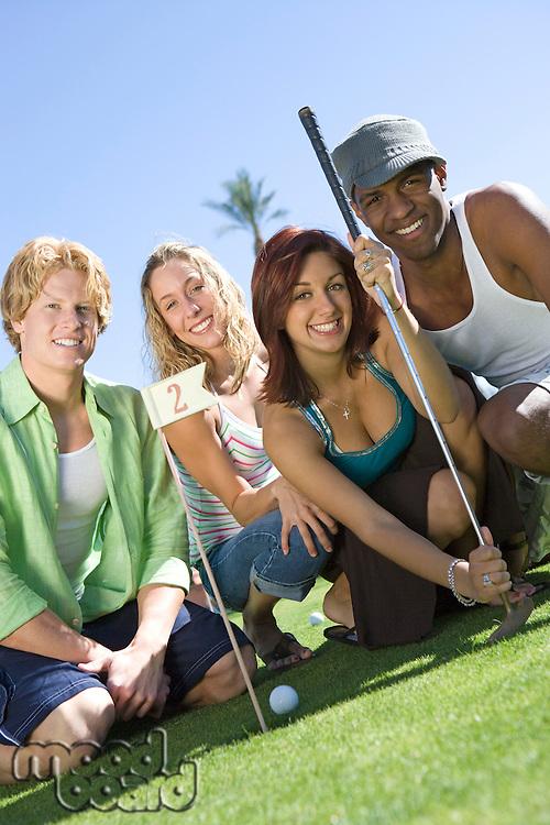 Four Young Friends on Golf Course, Portrait