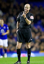 LIVERPOOL, ENGLAND - Wednesday, October 26, 2011: Referee Lee Mason during the Football League Cup 4th Round match between Everton and Chelsea at Goodison Park. (Pic by Vegard Grott/Propaganda)