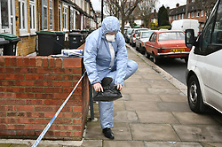 © Licensed to London News Pictures. 03/04/2018. London, UK. Police forensics attend the scene in Chalgrove Road, Tottenham, north London after a 17 year old girl was shot dead. The girl was found with a bullet wound and pronounced dead at the scene at 21:43 last night. Photo credit: Ben Cawthra/LNP