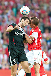 28.07.2011, Coface Arena, Mainz, GER, UEFA Europa League, Mainz 05 vs CS Gaz Metan Medias, im Bild Jasmin Trtovac (Gaz Metan #3) im Kopfballduell mit Niko Bungert (Mainz #26) // during the GER, UEFA Europa League, Mainz 05 vs CS Gaz Metan Medias on 2011/07/28, Coface Arena, Mainz, Germany. EXPA Pictures © 2011, PhotoCredit: EXPA/ nph/  Roth       ****** out of GER / CRO  / BEL ******