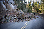 A landslide blocks Forest Road 57 in Mount Hood National Forest, Oregon.