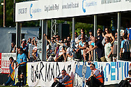 Picture by Ian Wadkins/Focus Images Ltd +44 7877 568959<br /> 25/07/2013<br /> Visiting fans from FC Rijeka celebrate a goal during the second leg of the UEFA Europa League round two qualifying match at Belle Vue Stadium, Rhyl.