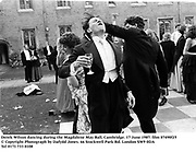Derek Wilson dancing during the Magdalene May Ball, Cambridge. 17 June 1987. film 87490f25<br />