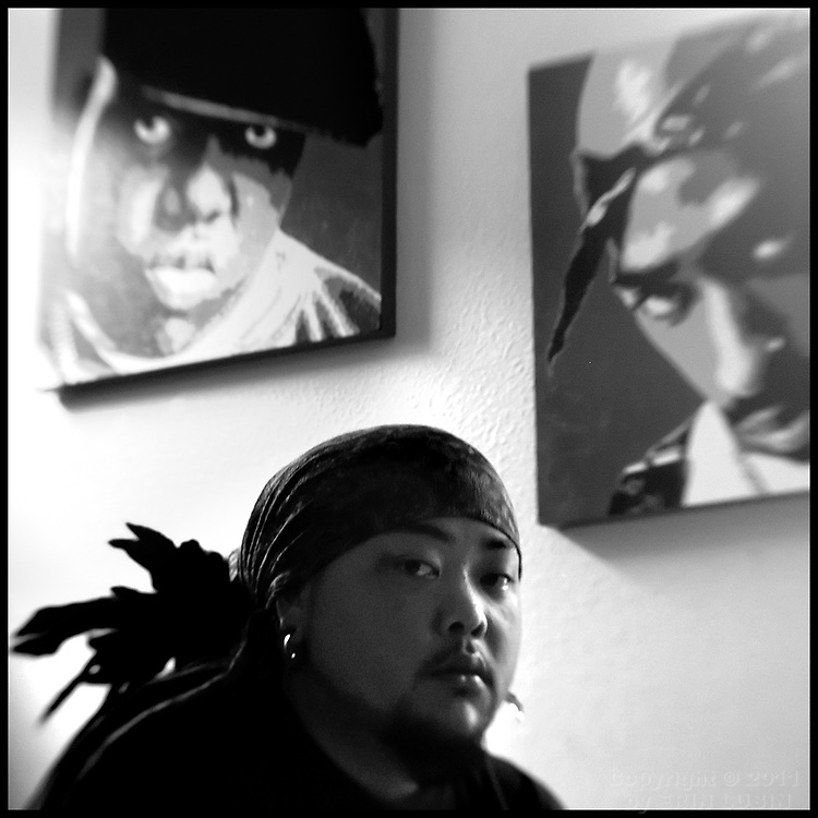 Toby Kanzawa, also know as Estairy, a hip hop rapper, sits in his bedroom in Daly City, July 14, 2006. Kanzawa's friend, George, committed suicide in 2006...Kanzawa was one of thousands of Bay Area Residents who participated in the American Foundation for Suicide Prevention annual fundraising walk, Out of the Darkness, in San Francisco, CA on July 22, 2006...Photo by Erin Lubin