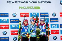 Monika Hojnisz (POL), Yuliia Dzhima (UKR) and Marketa Davidova (CZE) during Women 15km Individual at day 5 of IBU Biathlon World Cup 2018/19 Pokljuka, on December 6, 2018 in Rudno polje, Pokljuka, Pokljuka, Slovenia. Photo by Ziga Zupan / Sportida