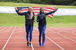 © Licensed to London News Pictures. 28/7/2016. Birmingham, UK.  More than 150 athletes, officials and staff representing USA Track & Field (USATF) are staying in Birmingham at the end of July, ahead of the IAAF World Championships in London. Pictured, Dawn Harper-Nelson, right and Natasha Hastings pictured in Birmingham. Photo credit: Dave Warren/LNP