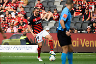 SYDNEY, AUSTRALIA - NOVEMBER 02: Western Sydney Wanderers defender Matthew Jurman (6) controls the ball  during the round 4 A-League soccer match between Western Sydney Wanderers FC and Brisbane Roar FC on November 02, 2019 at Bankwest Stadium in Sydney, Australia. (Photo by Speed Media/Icon Sportswire)