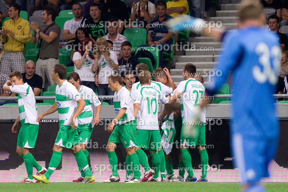 Players of Olimpija celebrate during friendly football match between NK Olimpija Ljubljana and FC Partizan Beograd (SRB), on June 23, 2011, in SRC Stozice, Ljubljana, Slovenia. (Photo by Vid Ponikvar / Sportida)