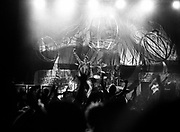 Perry Farrell performs to the crowd, Austrailia, 1990s.