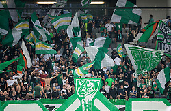 Green Dragons, fans of Olimpija during football match between NK Aluminij and NK Olimpija Ljubljana in the Final of Slovenian Football Cup 2017/18, on May 30, 2018 in SRC Stozice, Ljubljana, Slovenia. Photo by Vid Ponikvar / Sportida