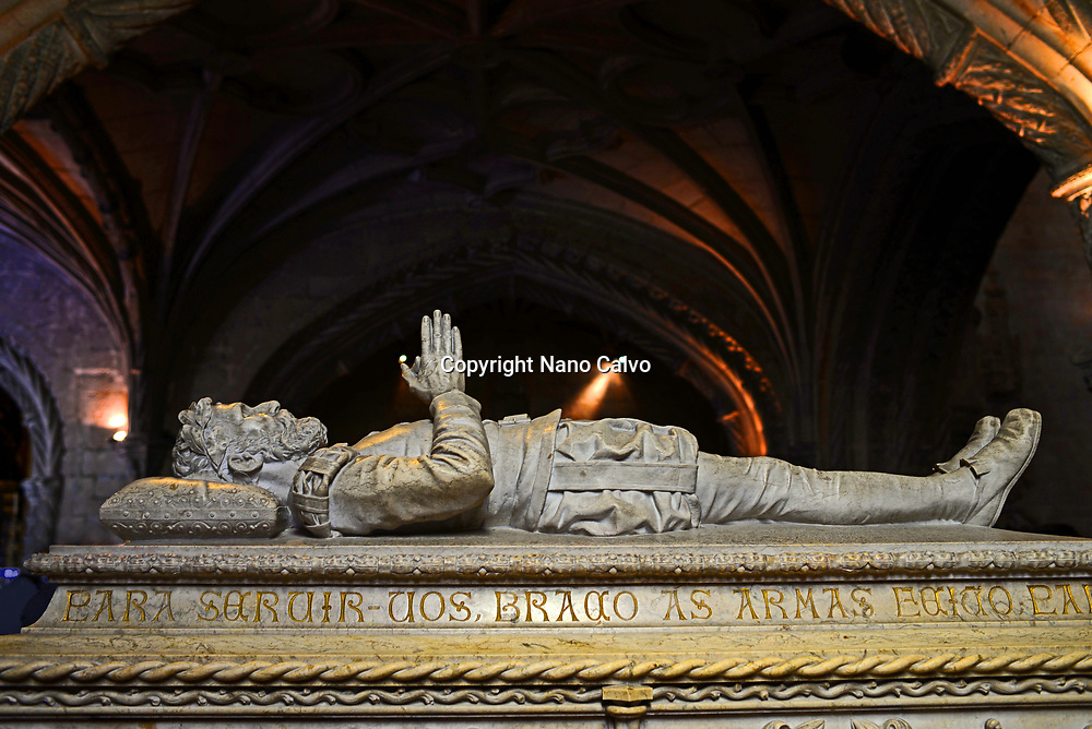 Tomb of poet Luís Vaz de Camões inside church of Santa Maria de Belem at Jeronimos Monastery or Hieronymites Monastery (The Mosteiro dos Jeronimos), a former monastery of the Order of Saint Jerome near the Tagus river in the parish of Belém, in the Lisbon Municipality, Portugal