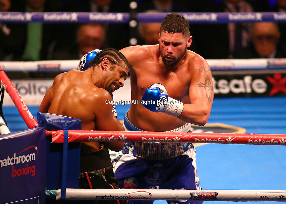March 4th 2017, O2 Arena, London England; Heavyweight Boxing David Haye versus Tony Bellew; Tony Bellew forces David Haye into a corner, during the Heavyweight contest