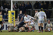 Saracens Ben Spencer kicks to touch during the Aviva Premiership match between Sale Sharks and Saracens at the AJ Bell Stadium, Eccles, United Kingdom on 16 February 2018. Picture by George Franks.