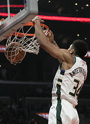 November 10, 2018 - Los Angeles, California, U.S - Giannis Antetokounmpo #34 of the Milwaukee Bucks dunks the ball during their NBA game with the Los Angeles Clippers on Saturday November 10, 2018 at the Staples Center in Los Angeles, California. Clippers defeat Bucks in OT, 128-126. (Credit Image: © Prensa Internacional via ZUMA Wire)