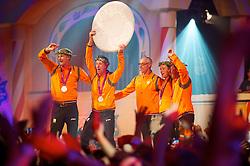 Team Netherlands silver medal<br /> Jur Vrieling - Mikael Van der Vleuten - Marc Houtzager -  Gerco Schroder<br /> Olympic Games London 2012<br /> © Arnd Bronkhorst
