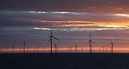 18/03/2014. Gwnt y Mor Wind Farm, North Wales, UK. Sunrise over the Gwynt y Mor Offshore Wind Farm in North Wales. Photo credit : Rob Arnold