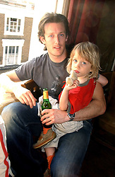 Record breaking polar Antartic explorer PATRICK WOODHEAD and LUCA BRICUSSE at a party to celebrate the publication of Title Deeds by Liza Campbell at the First Floor, 186 Portobello Road, London on 14th June 2006.<br />