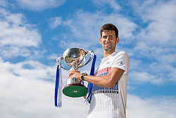 Aegon International 2017- Eastbourne - England - ATP Men's Singles Final. Novak Djokovic of Serbia with Aegon trophy, he defeated Gael Monfils of France. Saturday, 1st July, 2017 - Devonshire Park.<br /> (Photo by Nick Walker/Sport Picture Library)