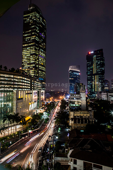 overview of Jakarta at night from Grand Indonesia mall, on June 22, 2015