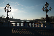 France. Paris. Pont Alexandre-III  in the distance the Eiffel tower on the Seine river at sunset / Le pont Alexandre III au loin la tour Eiffel.