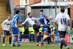 Chris Eagles of Bury challenges Scott Tanser of Rochdale   - Mandatory byline: Matt McNulty/JMP - 06/12/2015 - Football - Spotland Stadium - Rochdale, England - Rochdale v Bury - FA Cup