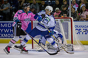 KELOWNA, CANADA - OCTOBER 15:  Riley Stadel #3 of the Kelowna Rockets and Max Lajoie #27 of the Swift Current Broncos in front of the net at the Kelowna Rockets game on October 15, 2016 at Prospera Place in Kelowna, British Columbia, Canada.  (Photo By Cindy Rogers/Nyasa Photography,  *** Local Caption ***