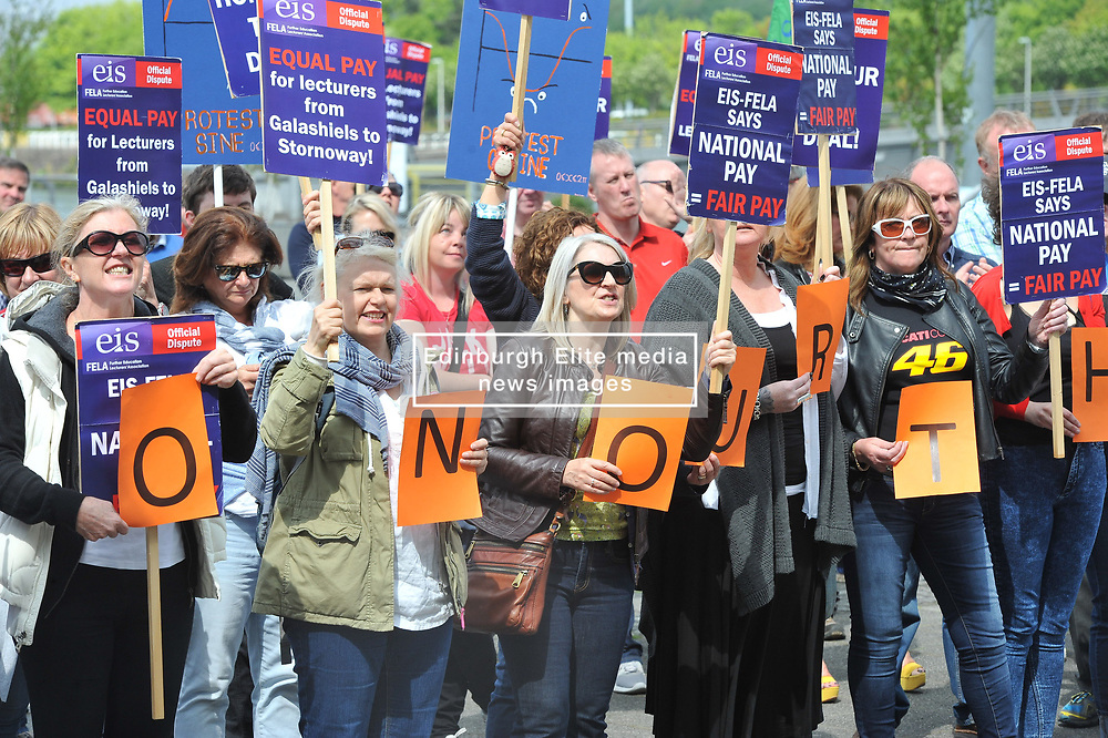 Further Education Lecturers hold a strike rally in Glasgow outside the BBC and STV studios to protest against the refusal of College Management to honour a deal on pay and conditions that was reached more than a year ago, Angie Isac   EEm Thursday 11 May 2017