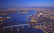 Delaware River Aerial, Bridges, New Jersey and North Philadelphia, PA