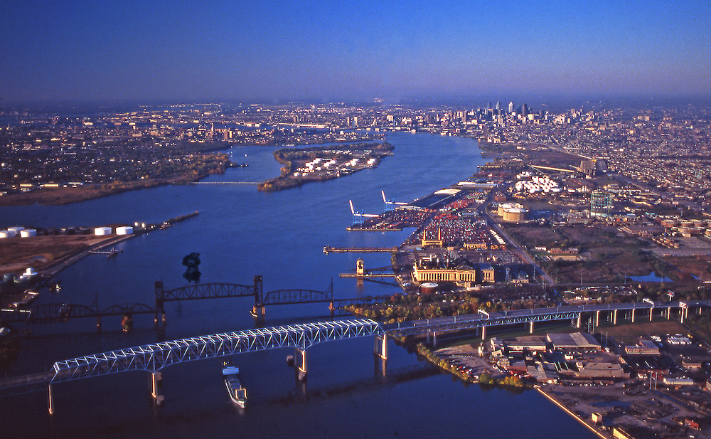 Delaware River Aerial, Bridges, New Jersey and North Philadelphia, PA