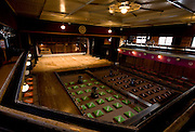 Photo shows the Edo Period style Japanese interior of the Korakukan theater, Japan's oldest extant wooden playhouse in Kosaka, Akita Prefecture Japan on 19 Dec. 2012. Made entirely from wood, the theater was opened in 1910 and was registered as an Important Cultural Property in 2007. Photographer: Robert Gilhooly