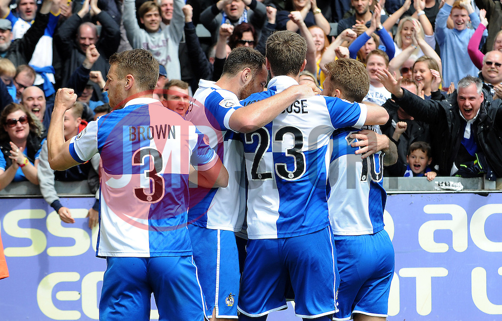 Bristol Rovers celebrate the goal from Bristol Rovers' Chris Lines  - Photo mandatory by-line: Neil Brookman/JMP - Mobile: 07966 386802 - 03/05/2015 - SPORT - Football - Bristol - Memorial Stadium - Bristol Rovers v Forest Green Rovers - Vanarama Football Conference